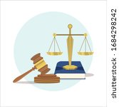 justice scales and wood judge... | Shutterstock .eps vector #1684298242
