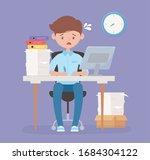 worried employee in desk office ... | Shutterstock .eps vector #1684304122