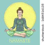 namaste card with woman... | Shutterstock .eps vector #1684516135