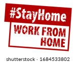 stamp work from home in red. ...