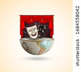 Small photo of World theatre day, March 27, concept greeting card, with curtains and Scene with red velvet curtain, theatrical masks, World Theater day banner design on white background, Dunya Tiyatrolar Gunu.