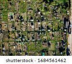 Small photo of Gardening allotment aerial landscape view