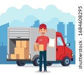 courier with cargo truck vector ... | Shutterstock .eps vector #1684608295