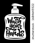 wash your hands hand drawn... | Shutterstock .eps vector #1684645522