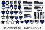set of cops thin blue lines.... | Shutterstock .eps vector #1684727785