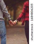 Couple In Love Walking Through...