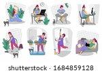 working remotely. freelance....   Shutterstock .eps vector #1684859128