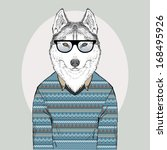 Hand Drawn Fashion Illustration of Husky Hipster in jacquard pullover - stock vector