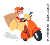 delivery man rides a retro... | Shutterstock .eps vector #1685026585