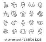 flu and coronavirus icons set. ... | Shutterstock .eps vector #1685061238