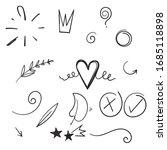 hand drawn set elements cartoon ... | Shutterstock .eps vector #1685118898