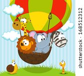 Stock vector animals traveling by balloon vector ilustration 168512312