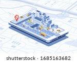 smart city isometric mobile app ... | Shutterstock .eps vector #1685163682