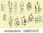 artistic people drawing. pen... | Shutterstock . vector #168521372