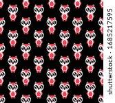 seamless pattern cute owl...   Shutterstock .eps vector #1685217595