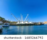Genoa, Italy - September 11, 2019: View of the seaport of Genoa at Italy - stock photo