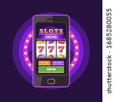 smartphone with slots game on...