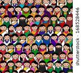 Big crowd of Indian women vector avatar illustration - Indian woman representing different states/religions of India.