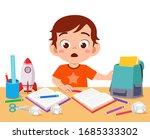 happy cute little kid boy with... | Shutterstock .eps vector #1685333302