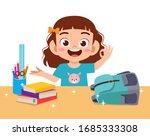 happy cute little kid girl with ... | Shutterstock .eps vector #1685333308