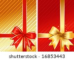 Golden Ribbon & Red Ribbon / two images / vector - stock vector