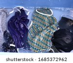 Cotton Cloth Mask Soak In Blue...