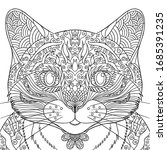 cat's face coloring page....   Shutterstock .eps vector #1685391235