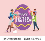 happy easter greeting card... | Shutterstock .eps vector #1685437918