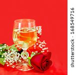 white wine in a glass with a... | Shutterstock . vector #168549716