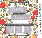 invitation or wedding card with ... | Shutterstock .eps vector #168558752
