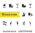 beverage icons set with grape...