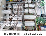 new automated system of electric power supply and distribution. Electric boxes with high-voltage equipment. The scheme for supplying electric power through the main and reserve channels - stock photo