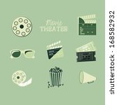 movie theater over blue... | Shutterstock .eps vector #168582932
