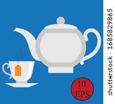 vector of teapot and cup.   Shutterstock .eps vector #1685829865