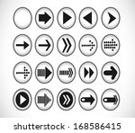 set of arrow shape sign icon in ...