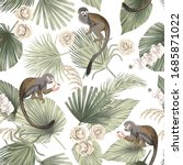 tropical animal monkey  floral... | Shutterstock .eps vector #1685871022