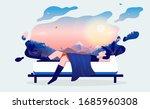 dreaming man   man lying in bed ... | Shutterstock .eps vector #1685960308