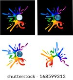 rainbow paint splatters around... | Shutterstock . vector #168599312