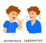 boy coughing with fist in front ...   Shutterstock .eps vector #1685994745
