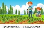 scene with kid planting trees... | Shutterstock .eps vector #1686030985
