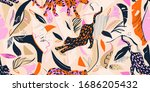 artistic hand drawn exotic... | Shutterstock .eps vector #1686205432