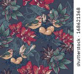 seamless floral background with ... | Shutterstock .eps vector #168621368