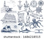 nautical hand drawn vector set. ... | Shutterstock .eps vector #1686218515