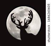 vector silhouette of deer on... | Shutterstock .eps vector #1686260605