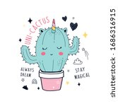 hand drawing unicorn cactus and ... | Shutterstock .eps vector #1686316915