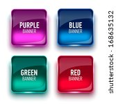 Set Of Glass Green  Blue  Red...