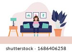 the woman sitting on a sofa... | Shutterstock .eps vector #1686406258