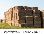 Large Straw Bales Stack In...