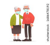 elderly couple in protective... | Shutterstock .eps vector #1686478192