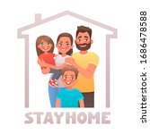 stay at home. parents and... | Shutterstock .eps vector #1686478588